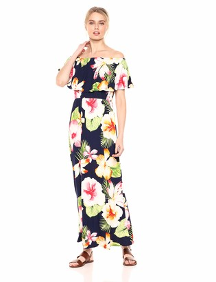 28 Palms Women's Tropical Hawaiian Print Off Shoulder Maxi Dress