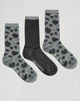 French Connection 3 Pack Animal Print Socks in a Box