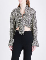 Sandro Floral-print cropped woven top