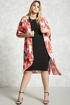 Forever 21 FOREVER 21+ Plus Size Crane Print Kimono