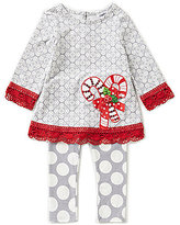 Counting Daisies Baby Girls 12-24 Months Christmas Candy-Cane Top & Leggings Set
