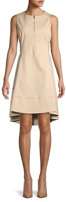 Donna Karan Zipper Fit--Flare Dress