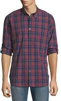 John Varvatos Mitchell Slim-Fit Plaid Short-Sleeve Shirt, Red