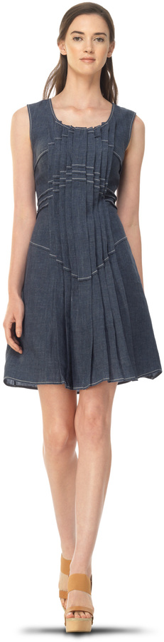 Max Studio Pleated Front Linen Dress