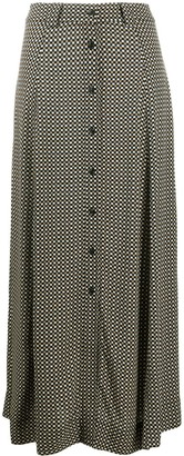 Ganni Check Print Front Buttoned Skirt