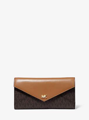 MICHAEL Michael Kors Large Logo And Leather Envelope Wallet
