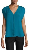 Halston Cap-Sleeve V-Neck Top, Atlantic