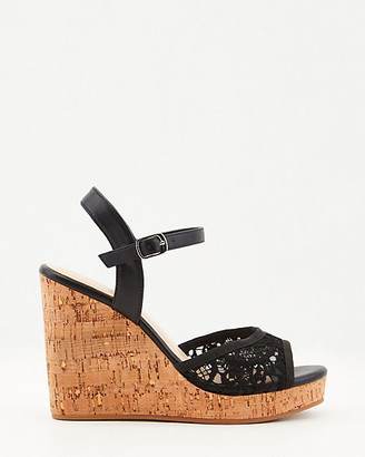 Le Château Faux Leather & Lace Platform Wedge Sandal