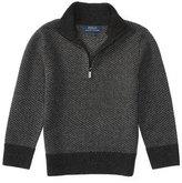 Ralph Lauren Herringbone Wool Half-Zip Sweater, Charcoal, Size 2-7
