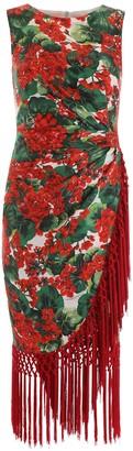 Dolce & Gabbana Portofino Print Fringed Hem Midi Dress