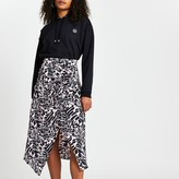 Thumbnail for your product : River Island Womens Pink printed asymmetric hem midi skirt