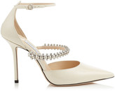 Jimmy Choo BOBBIE 100 Linen Patent Leather Pointy Toe Pumps with Crystal Strap