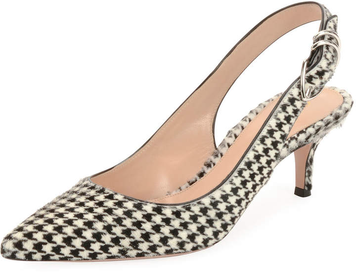 Gianvito Rossi Houndstooth Calf Hair Slingback Pumps