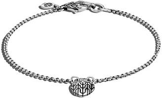 John Hardy Classic Chain Silver Heart Charm Bracelet, Size S-L