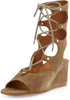 Chloé Suede Gladiator Wedge Sandal, Military