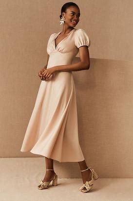 BHLDN Shelley Satin Midi Dress By in White Size 0