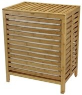 Household Essentials Natural Bamboo Open Slats Laundry Hamper with Hinged Lid and Cotton Liner