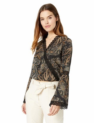 Cupcakes And Cashmere Women's Diandra Mirror Paisley Printed Front Blouse