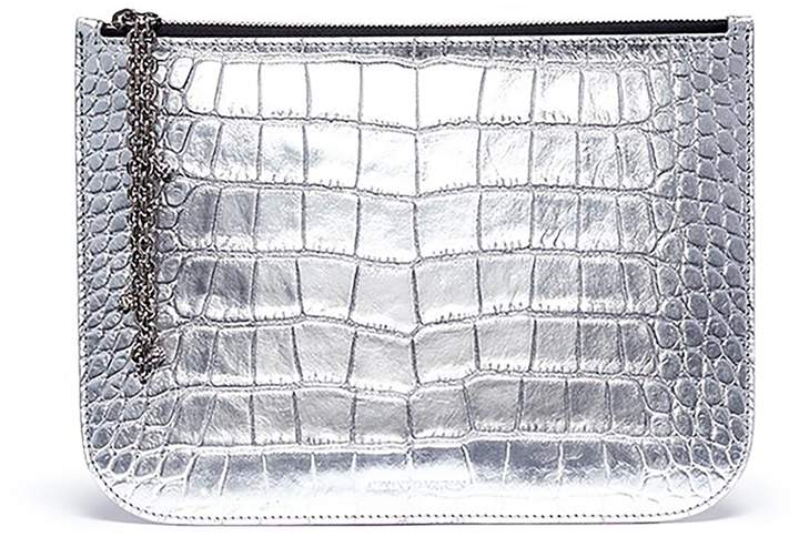 Alexander McQueen Metallic croc embossed leather pouch