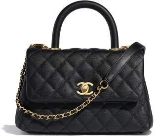 Chanel Flap Bag Top Handle Quilted Grained Calfskin Gold-tone Small Black