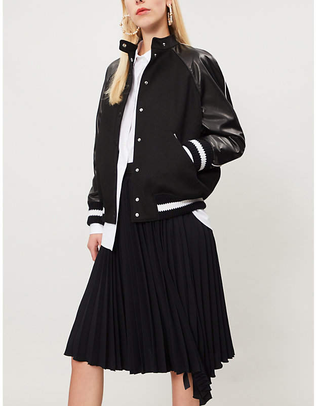 Valentino Logo-print wool and leather bomber jacket