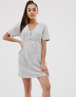 Asos Design DESIGN zip front smock dress with pockets-Grey
