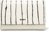 DKNY Striped Textured And Smooth Leather Wallet