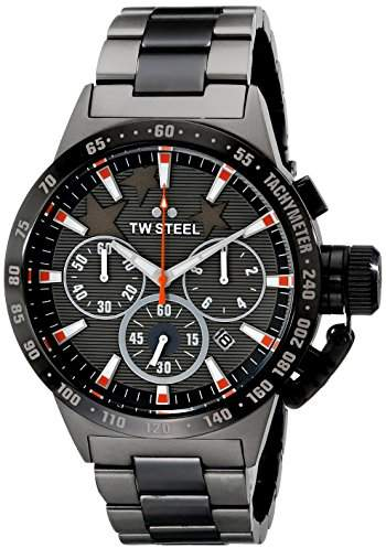 TW Steel Canteen - Mitchell Niemyer Edition Unisex Quartz Watch with Grey Dial Chronograph Display and Two Tone Stainless Steel Plated Bracelet TW313