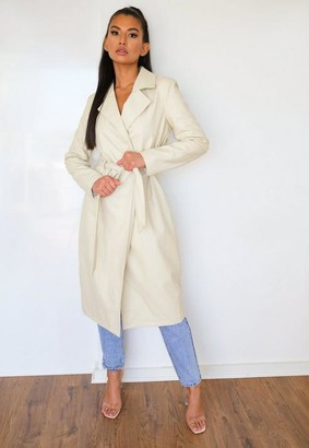 Missguided Faux Leather Belted Trench Coat