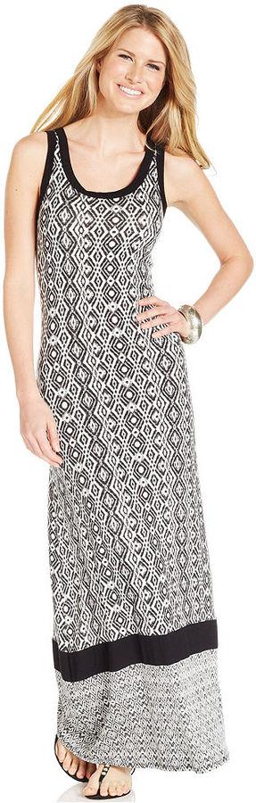 Karen Kane Sleeveless Printed Colorblocked Maxi Dress