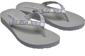 Skechers Womens Meditation Daisy Delight YOGA FOAM Flip Flops Gray
