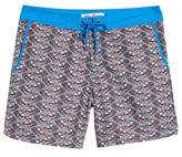 Mr.Swim Mr. Swim Fish Swirls Print Swim Trunks