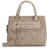 Sondra Roberts Saffiano & Snake-Embossed Laser Cut Faux Leather Satchel
