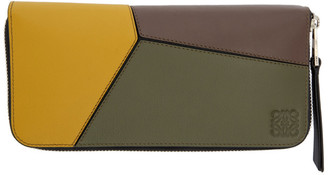 Loewe Green and Yellow Puzzle Open Wallet