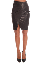 L'Agence Karen Leather Pleated Side Skirt