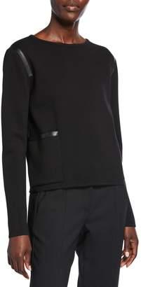 Max Mara Periodi Leather-Trim Wool Sweater