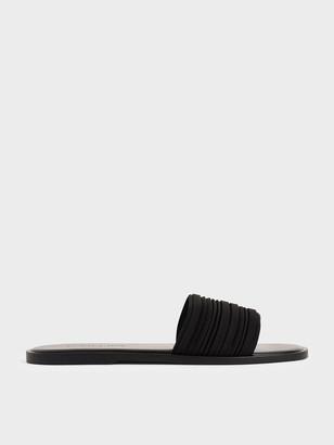 Charles & Keith Pleated Slide Sandals