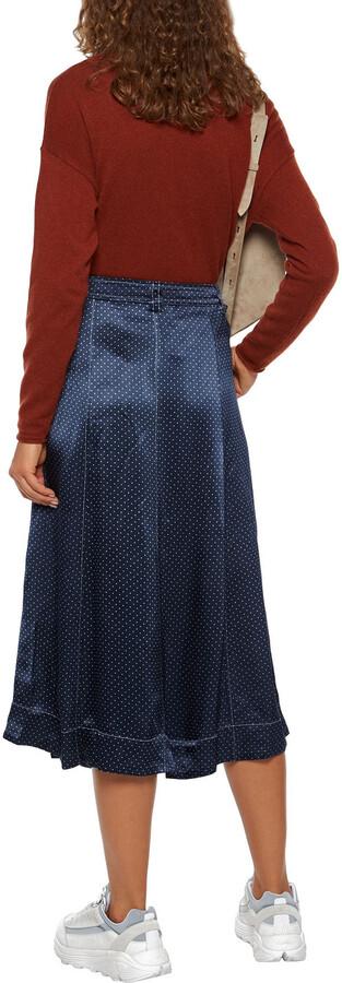 Thumbnail for your product : Ganni Printed Satin Midi Skirt