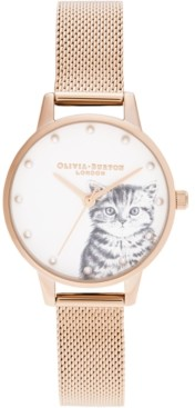 Olivia Burton Women's Illustrated Animals Rose Gold-Tone Stainless Steel Mesh Bracelet Watch 30mm