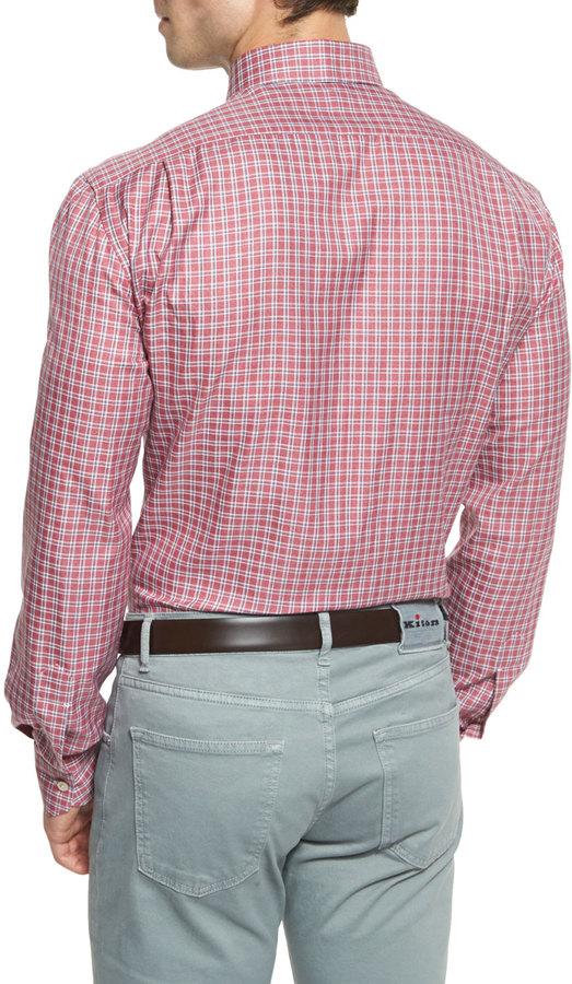 Kiton Check Woven Sport Shirt, Red/Camel
