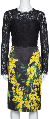 Dolce & Gabbana Black Mimosa Print Brocade And Lace Dress M