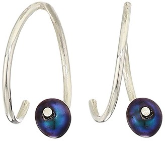 Chan Luu Mini Peacock Pearl Wire Hoop Earrings (Peacock Pearl) Earring