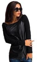 SANNYSIS Women Long Sleeve O-Neck Leather Splice Clubwear Tops Shirt Blouse (S, )