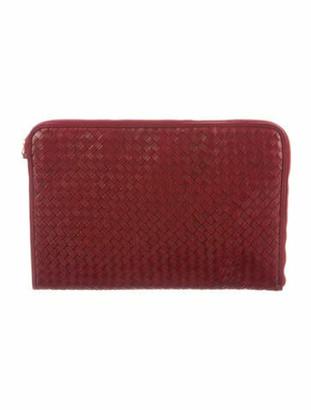 Bottega Veneta Vintage Intrecciato Leather Zip Clutch Red