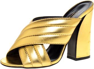 Gucci Metallic Gold Leather Sylvia Cross Strap Block Heel Sandals Size 37