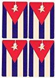Set of Four Cuban Flag Air Fresheners, Faded Denim