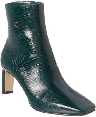 Jimmy Choo Minori 65 Croc-Embossed Leather Bootie