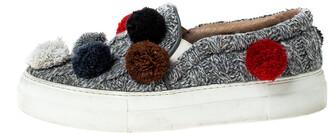 Joshua Sanders Grey Wool Blend Pom Pom Slip On Sneakers Size 39
