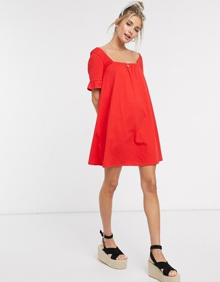 ASOS DESIGN square neck frill sleeve smock dress in red