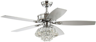 Jonathan Y Designs Kate 48In 3-Light Glam Crystal Drum Led Ceiling Fan With Remote